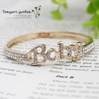 Yiwu accessories full rhinestone letter baby bracelet hand ring baby 2518 - gold