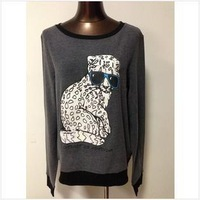 2014 new women's casual long sleeve t shirt leopard tee wildfox