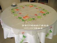 Glass yarn hand embroidery table cloth round artex tablecloth 172cm
