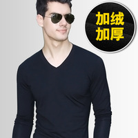 new 2013 autumn-winter  men's clothing V-neck basic shirt solid color slim plus velvet thickening male long-sleeve T-shirt