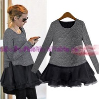 Free Shipping 2013 New Fashion Women Autumn / Sprint Long Sleeve Two-Pieces Dress Branded Design lady Slim Dresses