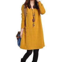 New 2014  Women Casul Loose  Pocket  Dress M to XL nx1234