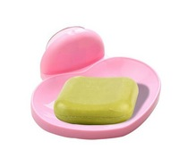 Free shipping Popular Soap box soap tray water cute plastic love shape on hot sale