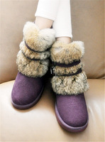 2013 winter rabbit fur genuine leather platform flat heel boots snow boots cotton boots fur one piece boots