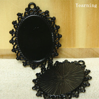 Yearning Retro Oval Black Base Setting Tray Pendant Charm Border Decorated Flower 38*29mm Fit Cabochon/ Picture/Cameo