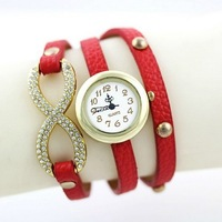 punk style plating rose gold bowknot/snakeskin grain PU leather 3 laps rao women fashion watches