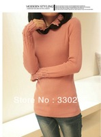 Free shipping fall and winter clothes new Korean version of Slim doll collar sweater long section of women bottoming shirt Women