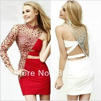 2014 Charming White Black Red Chiffon High Neckline Long Sleeve One Shoulder Short Cocktail Dress Sexy