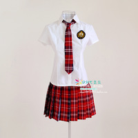 Costume fashion plaid preppystyle class service school uniform set