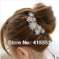 Min. order $10(mix order) Full Rhinestone Inlaying Luxury Gold Plated Hair Accessory TS081