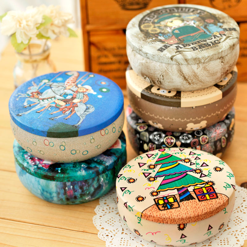 Derlook vintage colored drawing tin box circle storage box scrub caddy ,free shipping(China (Mainland))
