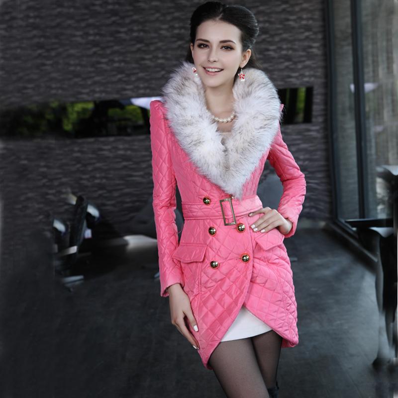 2014 Direktvertrieb lange mantel parka solid Winter warm baumwolle- gepolstertes großem kragen Verdickung thermische medium- lange wattierte jacke