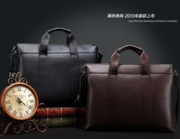 free shipping genuine leather male business bags , briefcase bag,black and brown shoulder package
