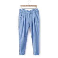Free Shipping 2013 summer new large size women's thin straight casual pants loose cotton linen trousers