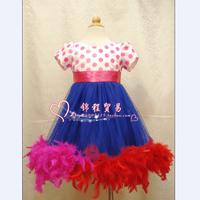 girls tutu Child dance dress short-sleeve female child costume performance wear elegant feather one-piece flower dress