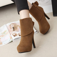 2014 NEW wholesale princess new winter boots women's boots Martin boots waterproof high-heeled boots bow cuffs , red, brown