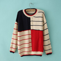 autumn winter casual sweet stripe patchwork loose twist pullover sweater preppy style sweater outerwear