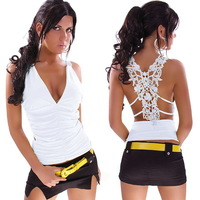 Shirts Ms New fashion sexy lace sleeveless deep V T.