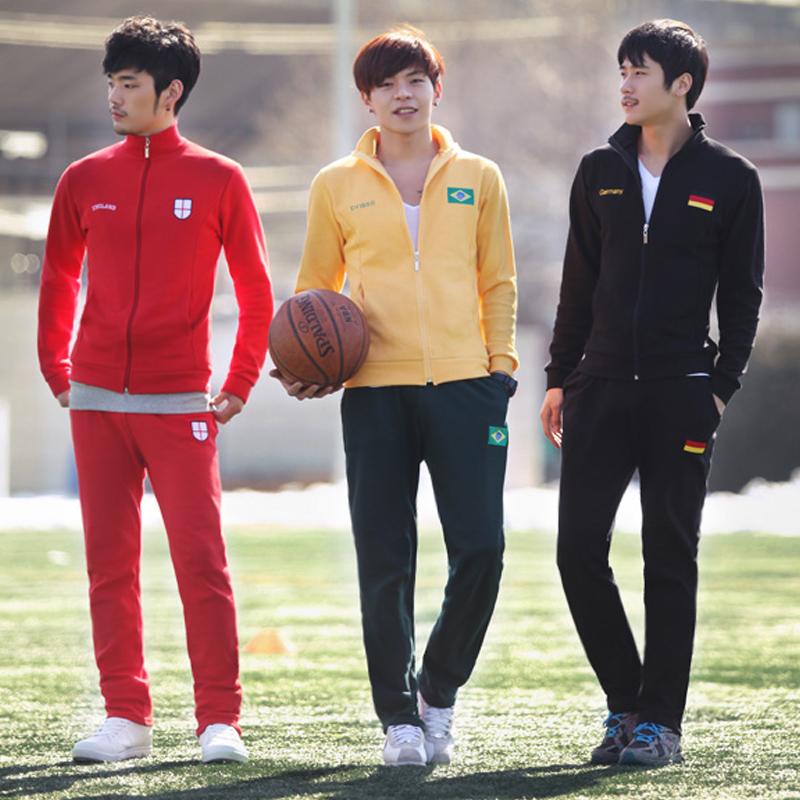 Autumn and winter male sports set sportswear football jersey slim sweatshirt set men's clothing(China (Mainland))