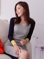 Free Shipping 2013 autumn and winter basic thread color block sexy hip slim one-piece dress basic shirt