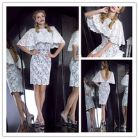 2014 new fashion sexy sheath knee length caped white lace cocktail dresses short party gown 1312328