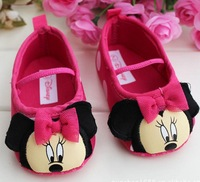 Free shipping 3 pairs/lot Baby girl Minnie princess toddler shoes Infant cartoon shoes baby shoes D0198