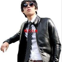 Motorcycle plus size leather clothing outerwear male leather jacket male leather clothing slim Men leather clothing