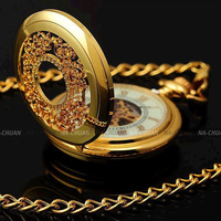 Vintage mechanical pocket watch cutout gold mechanical watch bracelet luminous pocket watch