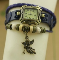 New Arrivals High Quality Women Genuine Leather Vintage Watch,Angel Pendant watches More color choices