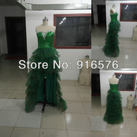 Real Sample Green Sequin Rhinestone Short Front And Long Back A-line Prom Dress Pageant Gowns Long Fashion