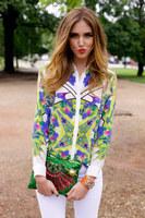 2013 autumn fashion sexy vintage broken fancy geometry print shirt turn-down collar strapless top long-sleeve shirt female