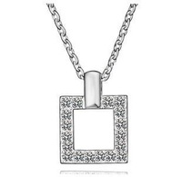 Hollow square elegant temperament crystal necklace jewelry   B6