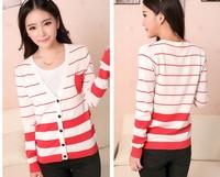 happy SZ   version of Hitz Slim V-neck knit cardigan pocket retro striped long-sleeved cardigan ladies  free  1  piece FSY0005