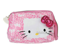 Free Shipping Hello Kitty Cosmetic Bag Zipper Make Up Box Storage Bags Organizer cosmetic case with Mirror bow sequins