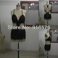 Custom Made Fit Spaghetti STraps Short Mini Nude Tulle Champagne Black Rhinestone  Party Dress