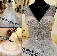 Wholesale - Fashion wedding dress bead Swarovski crystals V Neck Sheer Straps long cathedral train Wedding gown