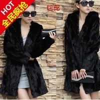 2013 outerwear mink hair fur coat medium-long with a hood thickening slim female