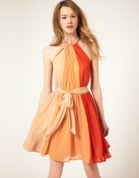 Women sleeveless Fashion Pleated  Colorful Striped  Dresses  Cute charming Casual Color Block  Dress New Fashion 2013