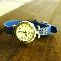 Watch double rivet punk strap fashion women's watch Women student watch vintage bracelet watch