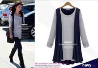 2014 Europe plus size women t shirt spring autumn casual fake two piece long -sleeved t shirt women