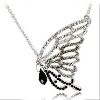 Quality crystal accessories luxury butterfly long necklace - 2805