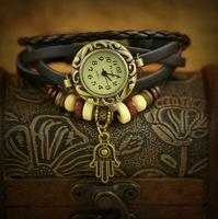 Factory Direct High Quality Women Genuine Leather Vintage Watch,Palm Pendant watches More color choices