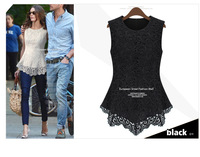 Free shipping! 2013 star models lace Slim waist sleeveless t-shirt