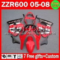 7gifts For KAWASAKI NINJA 05 06 07 08 ZZR600 ZZR-600 red silver blk ZZR 600  MC13259  red black   2005 2006 2007 2008 Fairing