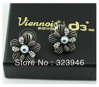 New Bohimia Thiland vintage silver Rhinestone black pearl flower Fashion wedding earrings gift F.Vogue brand jewelry wholesale