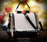 Hot High quality genuine leather+ PU luxury fashion women's messenger bags candy color vitage Embossing shoulder handbags totes