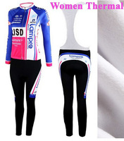 woman maillot for Winter! 2012 lampre isd Thermal Fleece Long Sleeved Cycling Jersey women + bib pants cycling clothing ciclismo