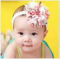 Baby Girl's Lovely  3D chiffon lace flowers baby Headband Headwear Hair Accessories Infant Hair Band-9