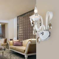 Fashion double slider candle white crystal wall lamp ofhead bedroom wall lamp living room wall lamp luxury k9 crystal lamp