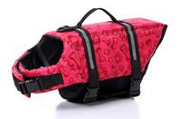 FREE SHIPPING Dog Life Jacket Dog Life Vest Dog Swimming Preserver XS/XS/S/M/L/XL One Lot Have 500 PCS PINK BONE & PAW